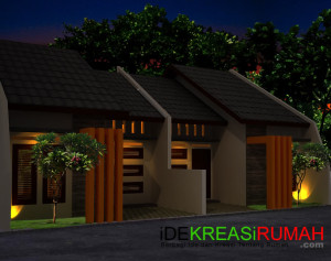 Desain Fasad Rumah Mungil Modern Tropis Type 50