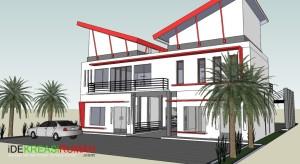 Desain Sketch 3D Rumah dan Ruang Usaha Bengkel Cuci Mobil