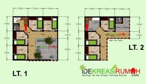 Desain Layout Denah Kos-Kosan 2 Lantai Pada Lahan Yang Kecil