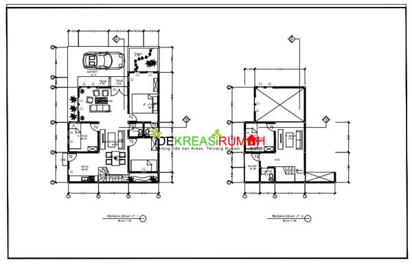Denah Gambar Kerja Rumah 2 Lantai