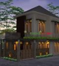 Desain Fasad Rumah 2 Lantai Lahan Pojok Minimalis