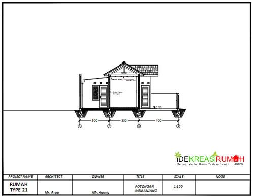 desain gambar kerja rumah type 21 pengembangan ide