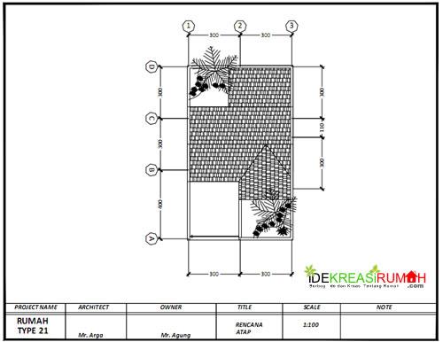 TzRencana Atap Gambar Kerja Rumah Type 21