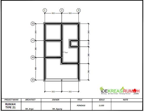 Rencana Pondasi Gambar Kerja Rumah Type 21