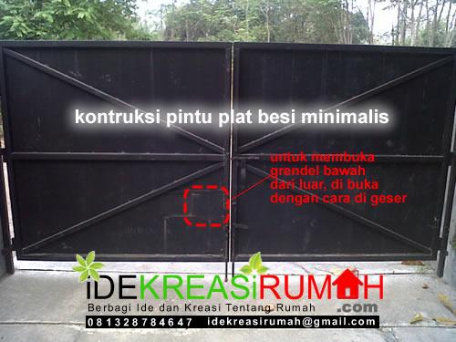 Kontruksi pagar pelat 2 daun pintu