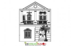 desain rumah 2 lantai gaya mediterania dengan balkon luas