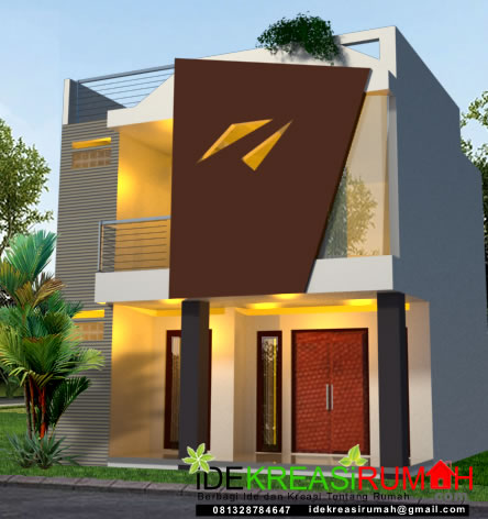 Desain Fasad Unik Minimalis Rumah 2 Lantai