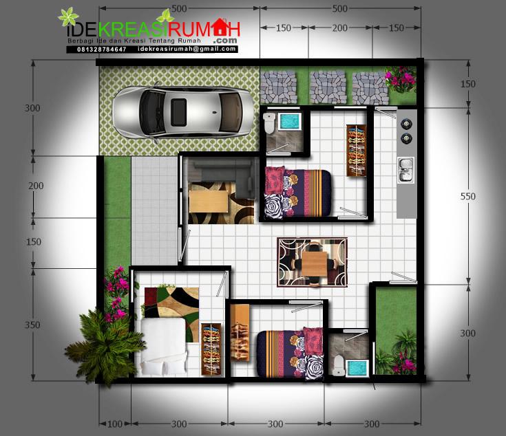 Desain Denah Full Color Lahan 100 m2