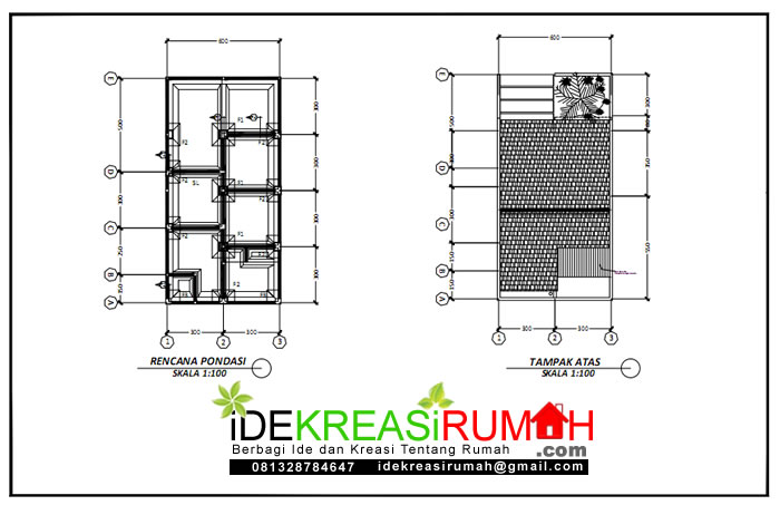 pondasi dan renacna atap desain rumah 6x9 2 lantai