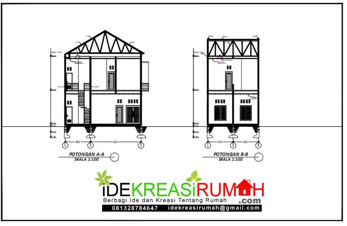 potongan desain rumah 6x9 2 lantai