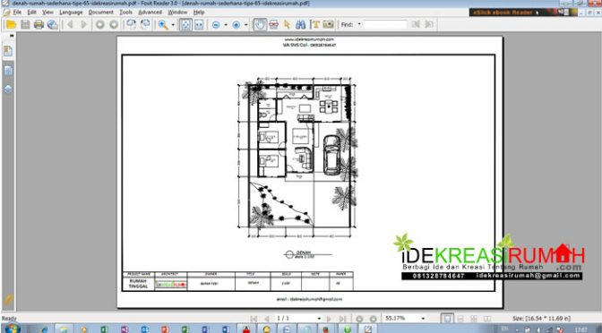 Download Desain Denah Sederhana Tipe 65