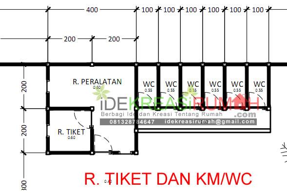 detail ukuran ruang tiket dan kamar mandi