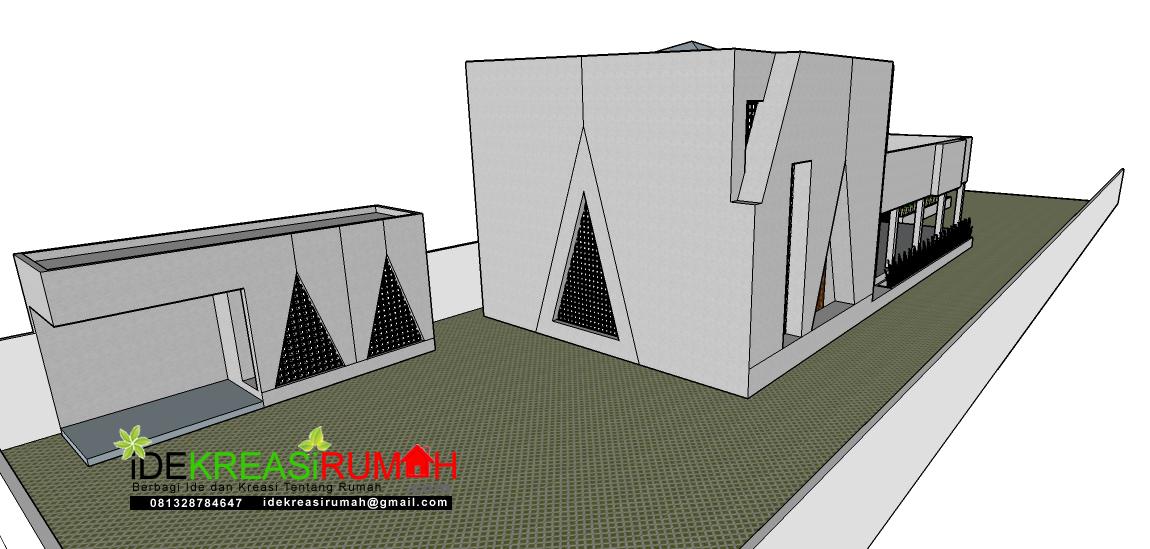 Tampak Belakang Barat Perpektif Masjid Kotak Minimalis