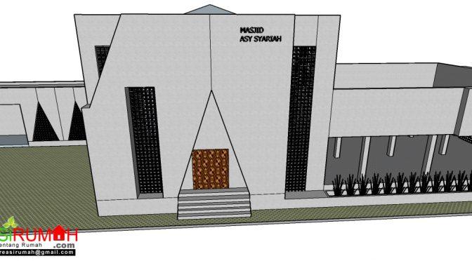 Selatan Perpektif Masjid Kotak Minimalis