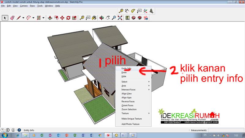 cara hitung luas atap dengan sketchup