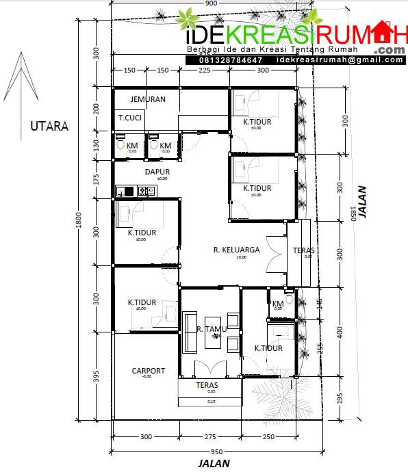 desain denah rumah lahan pojok ukuran 9,5 x 15 meter