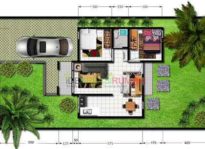 Desain Denah Rumah Tipe 54
