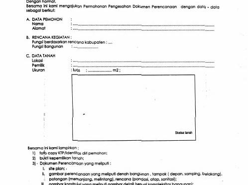 Contoh Form Permohonan IMB 1