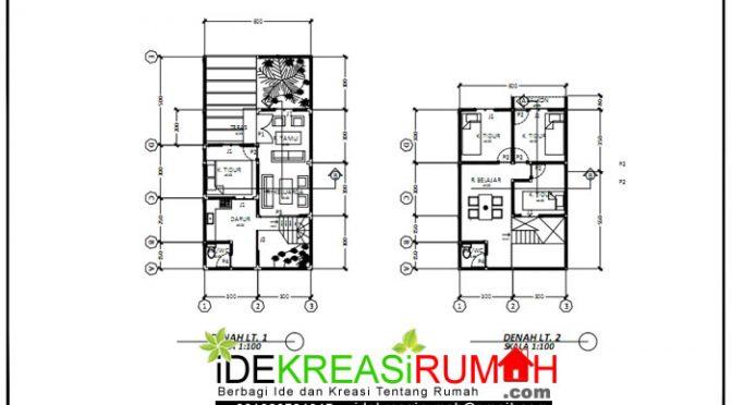 denah desain rumah 6x9 2 lantai