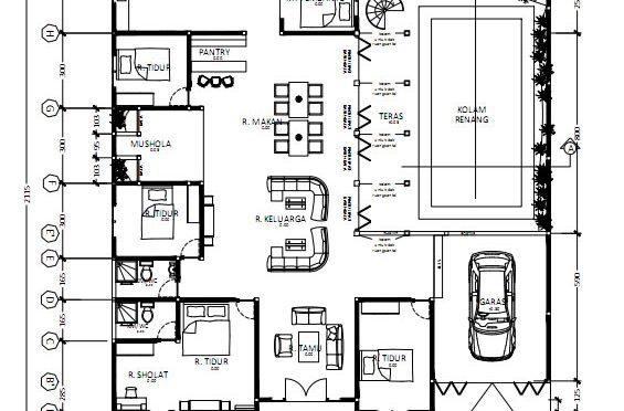 Denah Rumah Sederhana Dengan Kolam Renang
