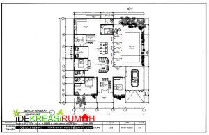gambar denah rumah sederhana 1 lantai dengan kolam renang