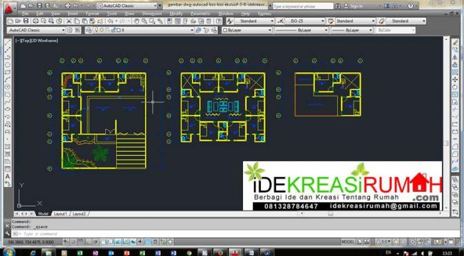 Download CAD dwg Desain Kos-Kosan Ekslusif 3 Lantai